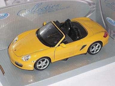 PORSCHE Boxster S 987 giallo con soft top 2004-2012 1//24 Welly Modello Auto con O..