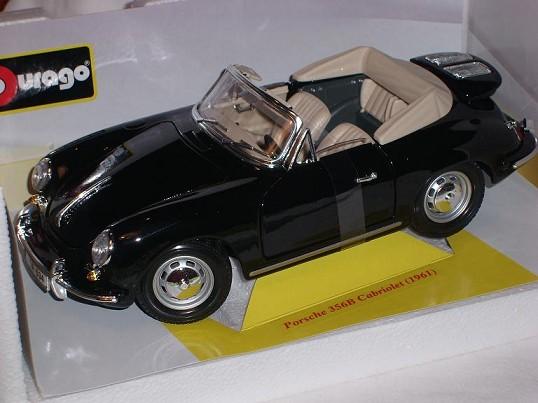Porsche 356b Cabriolet Noir 1959-1963 18-12025 1 18 Bburago Modèle Modèle Modèle Voiture Avec Ou. b96315